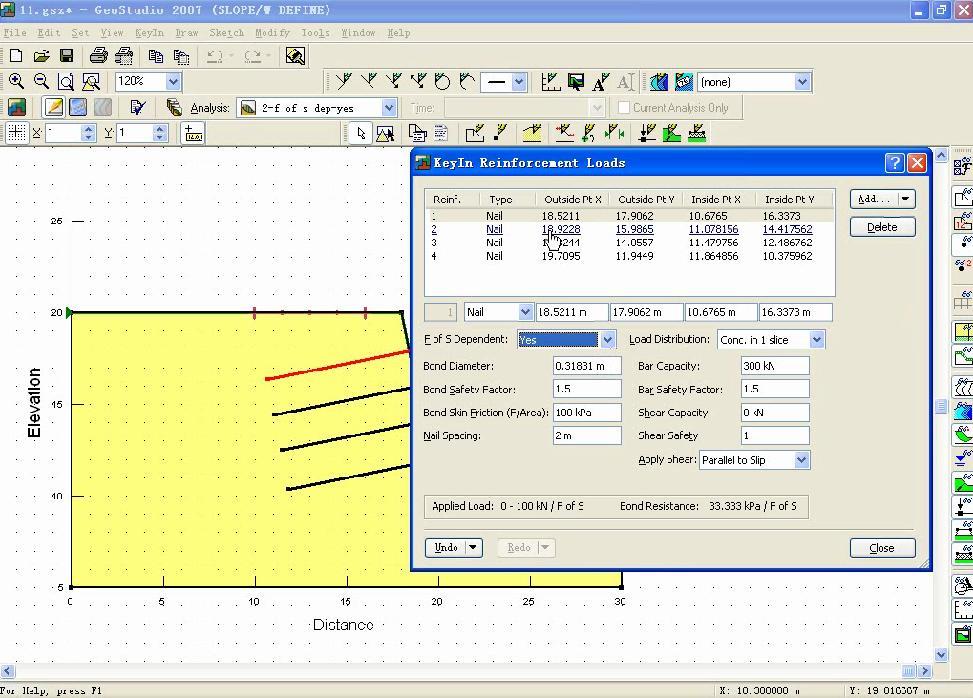 GeoStudio 不同土钉支护条件下边坡稳定性对比分析